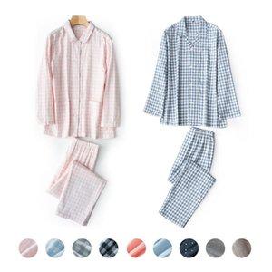 Ekose Baskı Unisex Yetişkin Çift Pijama Gazlı bez Pamuk Pijama Takımı Uzun Kollu Pijama Femme Homewear Pjs 2 Adet Ev Giyim