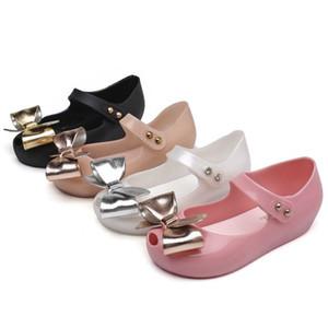 Zapatos de verano de las muchachas de PVC jalea de la manera del Bowknot estilo suave del bebé niños niñas princesa zapatos Melissa sandalias planas 2020 diapositivas de diseño
