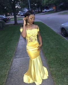 Удивительные желтые русалки африканские кружева вечерние вечеринки платья с плеча эластичный атлас длинные для женщин-девочки PROM формальное платье домохозяйства