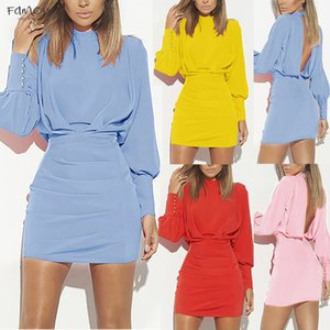 Sexy Dress Woman Autumn Fashion Summer Dress Vintage O Neck Long Sleeve Pure Color Backless Robe Femme Buttock Party Dress 4 Colors