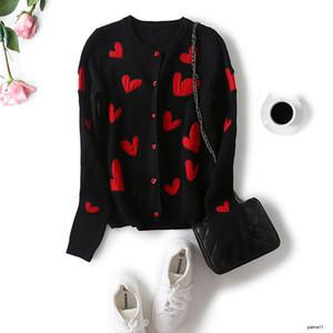 womens designer Knitted cardigan coat slim heart embroidered sweet wild sweaterH