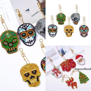 Diy Skull Halloween Key Buckle Christmas Keychains Diamond Painting Keys Ring Hot Selling With Various Pattern 18 88ss J1