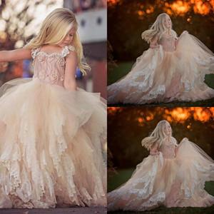 Düğün Sweet Little Girl Yarışması Elbise Kutsal ilk komünyonu Parti törenlerinde 2020 için Balo Dantel Tül Çiçek Kız Elbise