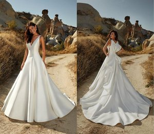 2020 New Eddy K Wedding Dresses Satin V Neck Ruffles A Line Wedding Dress Big Bow Backless Bridal Gowns