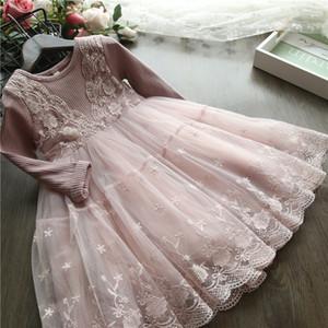 Liligirl Kız Prenses Giydirme Kız Elbise Parti Ve Düğün Giyim J190616 İçin Çocuklar Dantel İlkbahar Sonbahar Uzun Kollu Elbiseler