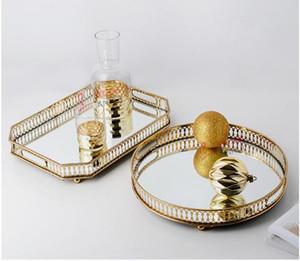 Palette en verre de miroir de palette de fer de miroir de palette de fer de style européen de palette en métal de luxe