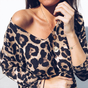 Mulheres V Neck T-shirt das senhoras do outono Long Sleeve Leopard Print manga comprida solta Camiseta Tops T-shirt