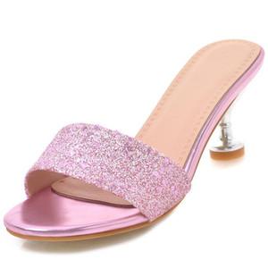 Sexy2019 Summer Woman Slipper Otra ropa Paillette One Font Codificará 40-43 Alto con zapatos de mujer durante muchos años Producto vivo 828