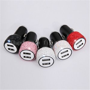 New Diamond-studded Car Mobile Phone Safety Hammer Charger Double USB Quick Ceharg Diamond-mounted Aluminum Alloy Cell Phone Chargers