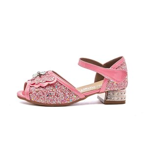 SKHEK Yeni Kız Sandalet Glitter Çocuk Performans Yüksek topuklu Prenses Dans Pullarda Rhinestone Öğrenci Bow Shoes