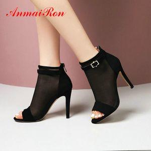 ANMAIRON Gladiator Mesh Heel (Air Mesh) Copertina Women Sandali 2020 Scarpe Donna Designers Thin Tacchi Zipper Shoes