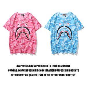 Summer Lover Color Camo Cartoon Print Pink Blue T-shirt T-shirt casual Hip Hop di personalità per uomo