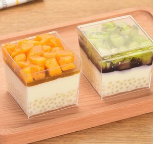 Dessert cup square mousse cup pudding ice cream jelly dessert cake hard plastic PS disposable cup