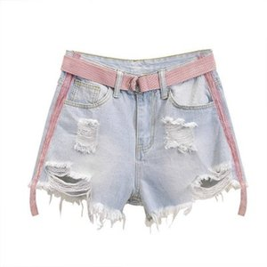 Venta caliente de las mujeres del verano ponen en cortocircuito tamaño del agujero grande flojo pantalones cortos de cintura alta recta Mujer Ropa