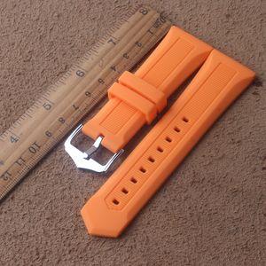 Borracha à prova d 'água para Womens Mens Relógios banda de aço Inoxidável pin polido Buckle Watch Band Strap Pulseira 20mm 22mm 23mm 24mm 26mm 28mm