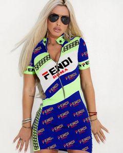 Mini abiti da donna Designer Mezza cerniera Colletto in piedi gonne Stampa lettera Manica corta Abito sexy Plus Size Abiti estivi S-3XL