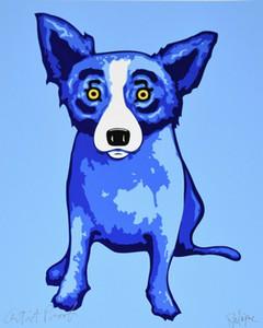 George Rodrigue perro azul cielos brilla en Me Signed Arte Decoración Artesanías / impresión de HD pintura al óleo sobre lienzo de arte pared de la lona 200111