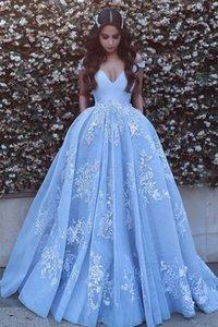 Pocket Design Lace Applique Ball Quinceanera Dresses Modest Dubai Arabic Off-shoulder Luxury Train Princess Occasion Evening Gowns