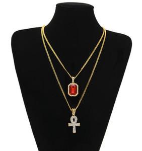 Egyptian Ankh Schlüssel des Leben Bling Rhinestone-Kreuz-Anhänger mit rotem Rubin Halskette Set Männer Art und Weise Hip Hop Schmuck