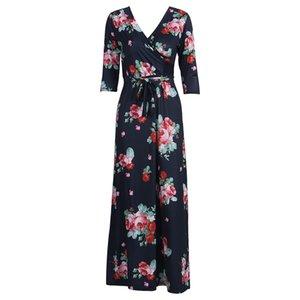 Damen böhmische Art-lang Maxi Kleid Frauen-Sommer-Harf-Hülse V-Ausschnitt Strand-Kleider Mode-Blumen-Blumensommerkleid Schärpen Kleid