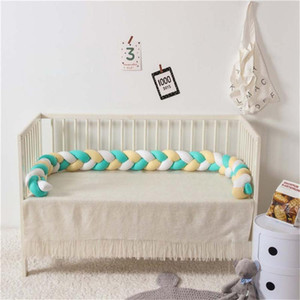 Newborn Baby Bed Bumper 220cm Children Twist Knot Pillow Bumper Infant Crib Fence Cotton Cushion Kids Room Bedding Decoration