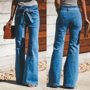 2020 최신 핫 여성 패션 높은 허리 데님 와이드 다리 레깅스 바지 청바지 긴 플레어 벨 바닥 바지와 데님 벨트