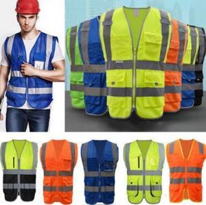 6 colori Abbigliamento maglia riflettente di sicurezza gilet ad alta visibilità avviso di sicurezza di lavoro Costruzioni stradali in corso Giacche CCA10954 100pcs