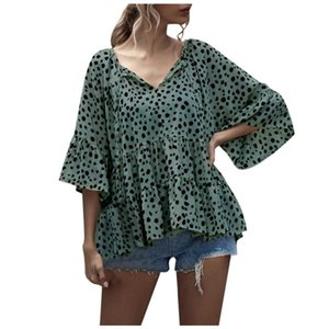 Summer Women Ruffles Blouses Ladies Elegant V-neck Lace-up Floral Blouse Shirts 3 4 Sleeve Casual Female Shirts Tops
