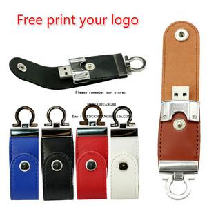 Freie Emboss Logo USB Flash Drive 32GB Metall-Schlüsselanhänger mit Leder Pendrive 64GB 16GB 8GB Geschäft Usb Flash 128GB Pen Drive Memory Stick