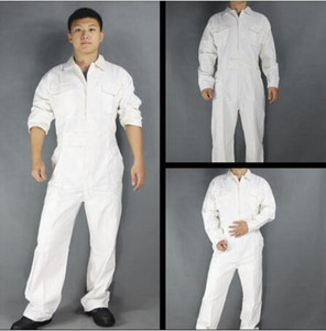 Hot New Men's 100% Cotton One-piece Jumpsuits Tide Mens Tooling White Work Overalls Long Sleeve Working Coveralls Workwear Repairman