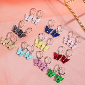 2Pair Sets Boho Butterfly Stud Earrings Simple Acrylic Silver Color Small Earrings Girls Fashion Statement Jewelry