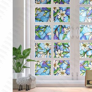 60 by 200 Cm Vinyl Static Cling Window Shade,Blue Orchid Privacy Stained Glass Decorative Window Film Heat Control Window Tint Y200416