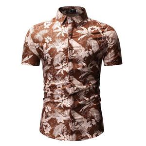 Mens Designer imprimé feuilles T-shirts contraste Mode couleur T-shirts TURN-Col Casual manches courtes T-shirts Vêtements Homme