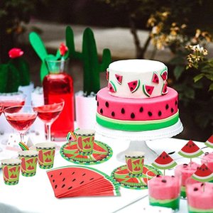 Watermelon Party Decorations Disposable Tableware Happy Birthday Banner Letter Garland Cupcake Toppers Fruit Party Supplies