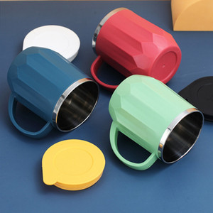 Coffe Mugs Stainless Steel cup Milk Cups Portable Camping Cup with Lid Household Lovers Water bottles 400ml T2I51049