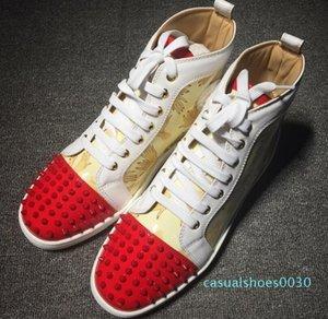 Nouveau mode rouge baskets bas High Top Lacets Graffiti Designer Hommes Bottes d'impression mixte P c30