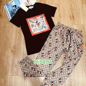 las mujeres alta gama camiseta de la muchacha ocasional de impresión ajustado camiseta jersey y todos los animales de impresión a través de enclavamiento legging traje de diseño de lujo 2020 de la moda
