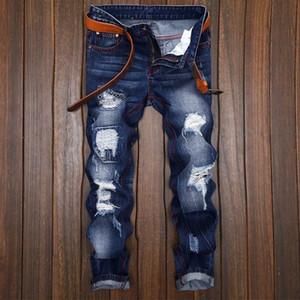 Мужская дизайнерская мода Slim Skinny Moto Biker повседневные джинсы Новые прямые мотоциклетные джинсы Мужчины уничтожили джинсовые брюки 164