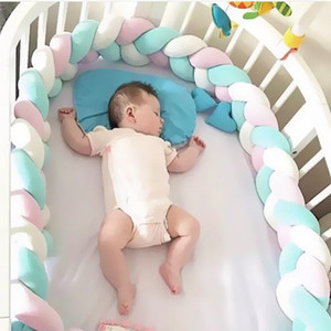 INS Hot 2M Length Baby Bed Plush Cushions Fence Baby Bed Decor Pure Weaving Plush Knot Crib Bumper Protector Infant Room Decor