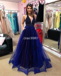 Royal Blue Sequin Crystal Halter V Neck Prom Dresses Floor Length Formal Evening Party Gowns With Pockets Cocktail Party Dress Plus Size