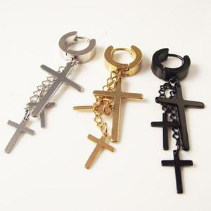 1 peça de aço inoxidável Punk piercing Brinco Curto homens transversais Brinco moda borlas de cruzes Body Jewelry Preto