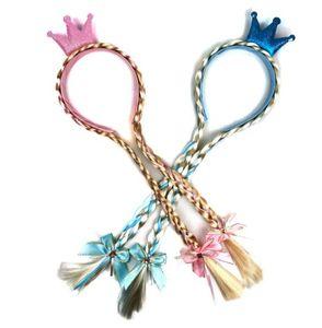 2 cores Rainha Snow Princess varas do cabelo peruca de Natal da borboleta clipe de Crianças duplas Trançado Hoop crianças Acessório de Cabelo