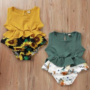 Baby Girl Одежда Подсолнечное Infant Девочки Пачка платье без рукавов Ползунки для новорожденных Комбинезон Дизайнер Дети Outfit Лето Детская одежда
