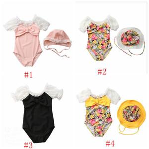 Enfants Maillots de bain Filles Imprimé Bikini de bain Floral Caps bébé bowknot dentelle à manches Maillot de bain Barboteuses Ensembles d'été style princesse Maillots de bain PY599