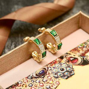 Modemarke Titan Stahl Schmuck Frauen Schlange Ohrring Metall Frauen lieben Ohrringe Gold Grün Set Schneckenwelle Kristall Ohrringe Schmuck Großhandel