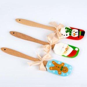Christmas Design Food Non-Stick Cake Butter Knife Spatula Wooden Handle Silicone Scraper Kitchen Baking Tools ZA5208
