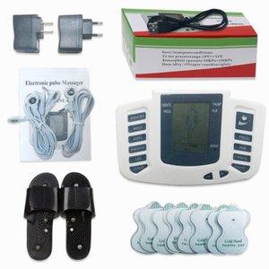 Hot Electrical Stimulator Full Body relaxar o músculo Digital Massager TENS pulso Acupuntura com a terapia deslizador 16 pcs Eletrodo Pads