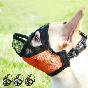 Bozal para perro Mascota Perro Nylon Máscara Corteza Malla Bozal transpirable Cómodo Ajustable Nuevo diseño Aseo Anti Stop Bite