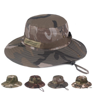 Camouflage Sun Hat and Mesh Hat for Men Women Fishing Design Safari Cap with Sun Protection Unisex Bucket Outdoor Boonie Hat