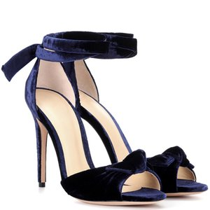 Shoes New Party Sandals 2021 Summer Gladiator Bowtie Velvet Strap Stiletto Fashion Chic Women High Ladies Sandals Heel Peep Heels Toes Jfbb